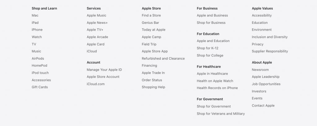 apple footer ottimizzazione seo